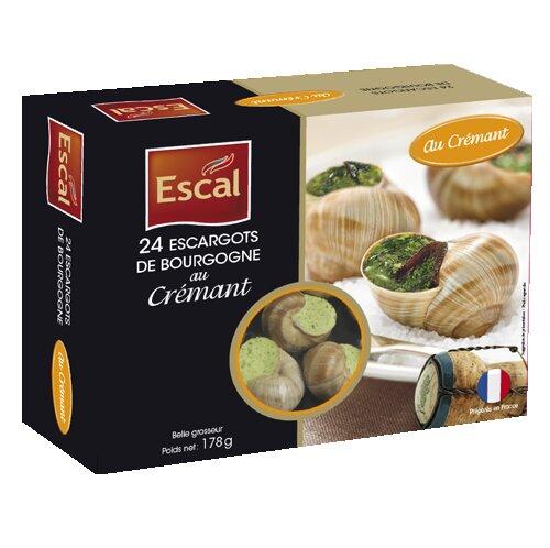 Une boîte de 24 Escargots de Bourgogne au crémant