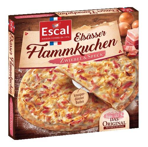 Eine Schachtel mit einem Flammkuchen aus dem Elsass