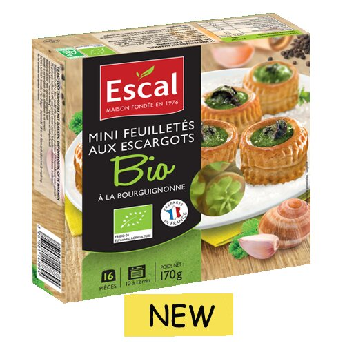 One box with 16 organic mini vol au vent with escargots