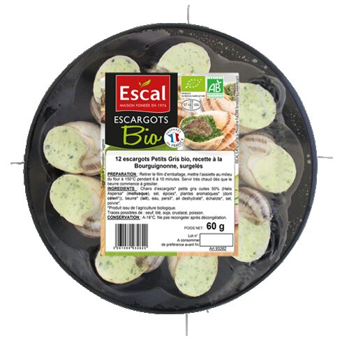Une assiette plastique avec 12 escargots bio