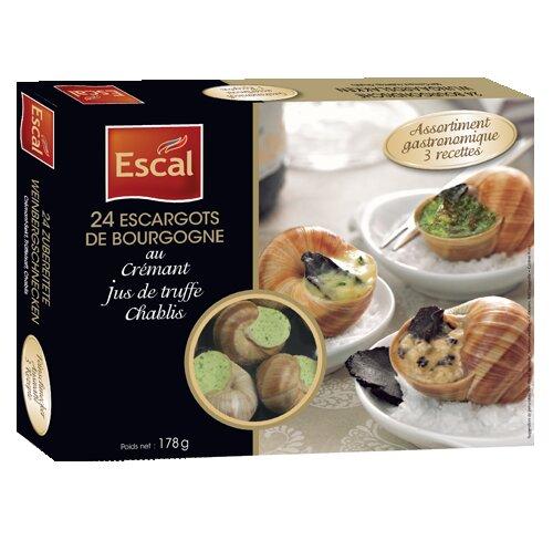 Une boîte de 24 escargots de Bourgogne au crémant, au jus de truffe, au vin de chablis