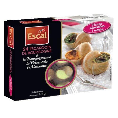 One box with 24 escargots de Bourgogne à la bourguignonne, à la Provençal et à l'Alsacienne