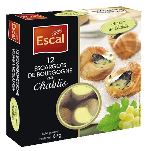 One box with 12 Escargots de Bourgogne with Chablis Wine
