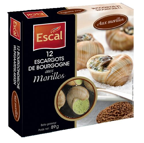 One box with 12 Escargots de Bourgogne with Morels