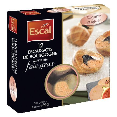 One box with 12 escargots de Bourgogne with foie gras and figs