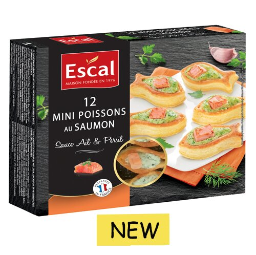One box with 12 mini fishes with salmon