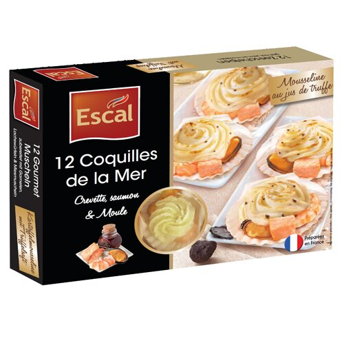 One box with 12 mini seashells with a creamy sauce with potatoes, butter and truffle juice