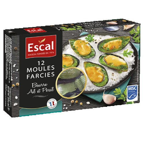 One box with 12 mussels with garlic butter