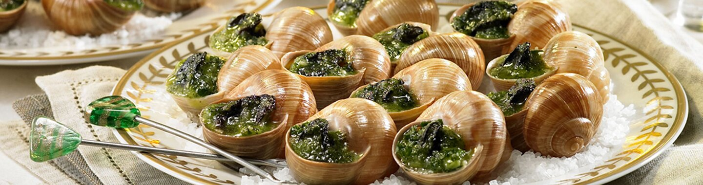 A plate with some Burgundy escargots