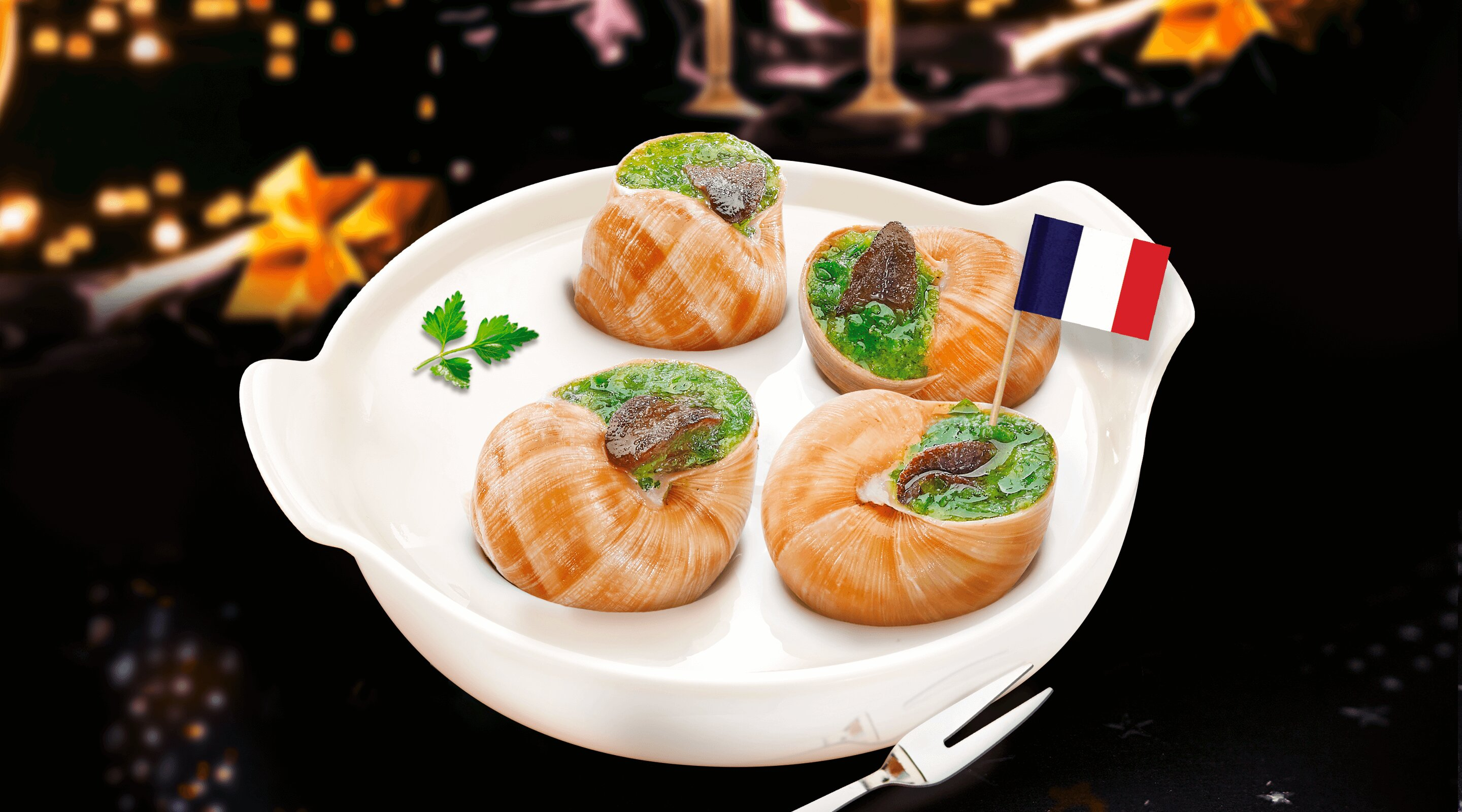 A white plate with 4 Burgundy escargots and a French flag and the background is festive