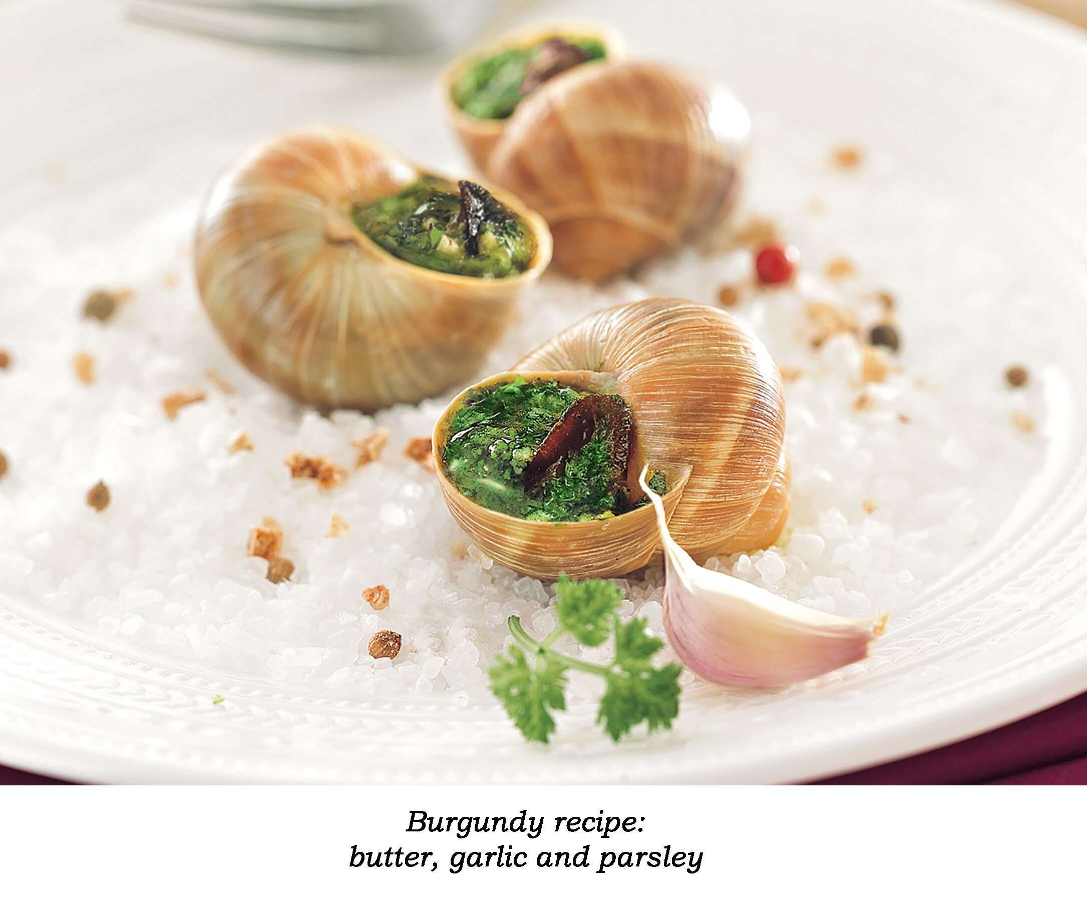 A cut-out of a white plate with salt and 3 escargots with Burgundy recipe