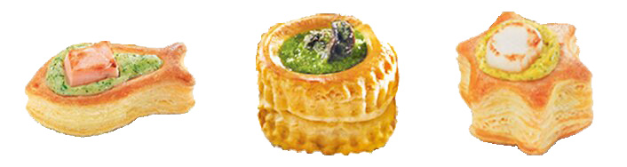 One fish with salmon one vol au vent with escargot and one star with scallop