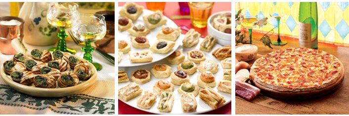 Ein Bild aus drei Bildern zusammengesetzt: Ein Teller mit Schnecken, mehrere Teller mit unterschiedlichen Blätterteighäppchen und ein Brett mit Flammkuchen